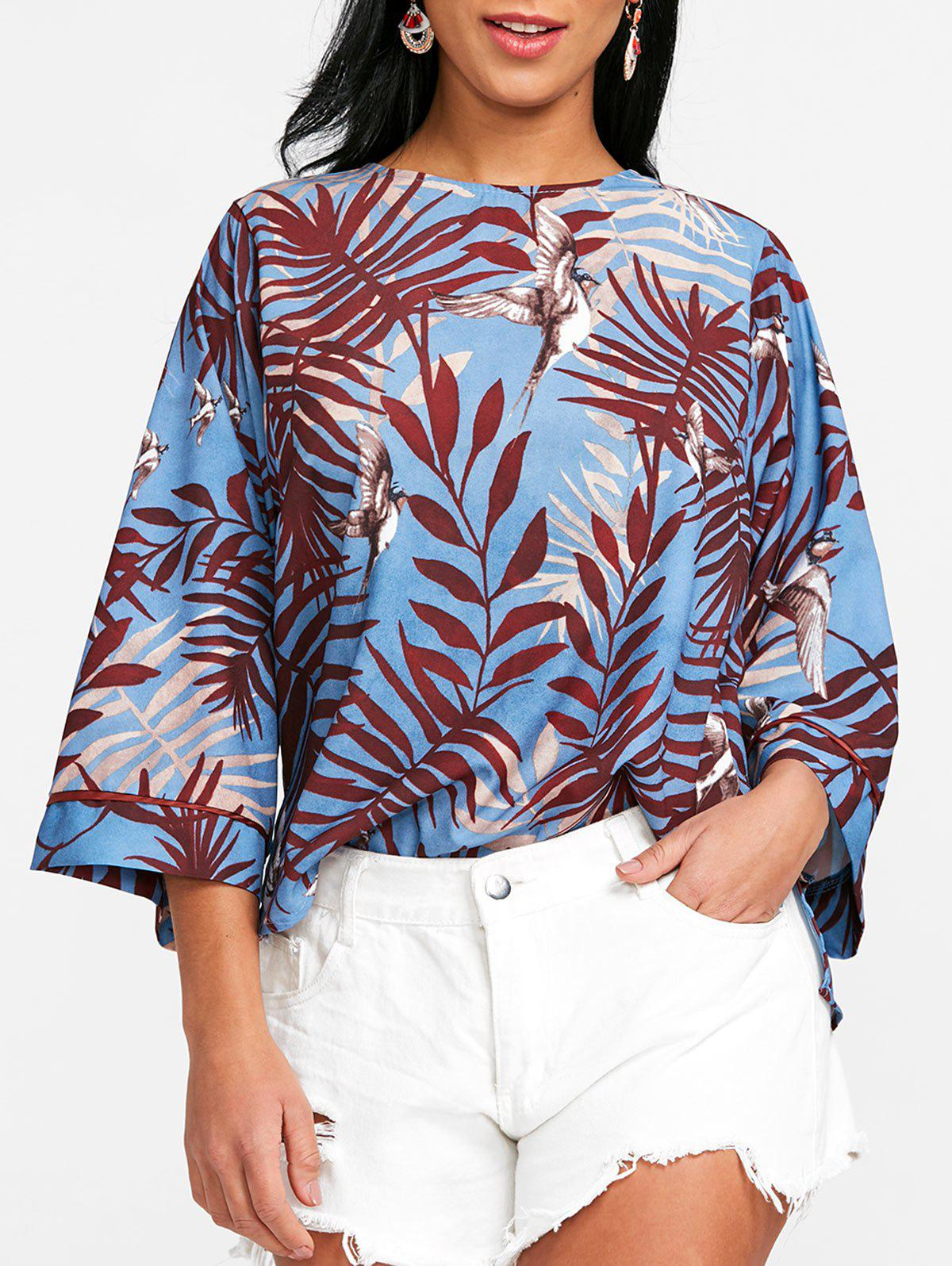 Fashion Bird Print Slit Blouse