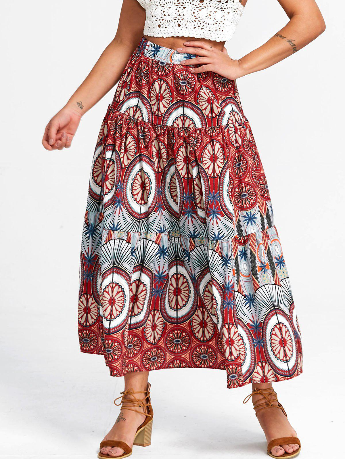 New Mandala Print A Line Skirt
