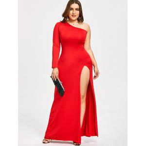 Plus Size One Shoulder High Split Evening Dress -