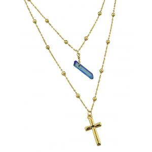 Faux Jade Cross Layered Pendant Necklace -