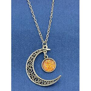 Round Hollowed-out Alloy Pendnant Necklace -