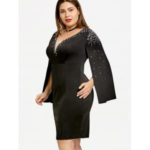 Плюс Размер Rhinestone Split Sleeve Fitted Dress -
