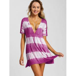 Plunging Neck Tie Dye Beach Dress -