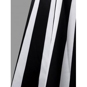 Vertical Stripe Cami Strap Midi Dress -