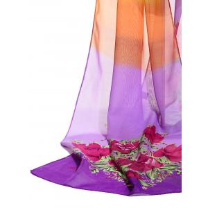 Floral Pattern Decorated Lightweight Chiffon Scarf -