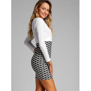 Argyle Print Mini Surplice Dress -