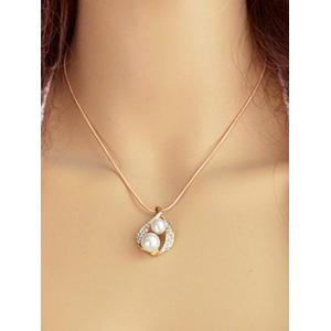 Faux Diamond Pearl Pendant Necklace And Earrings -