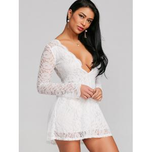 Plunging Neckline Sheer Lace Tunic Dress -
