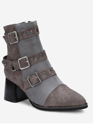 Affordable Ankle Chunky Multi Buckle Straps Boots
