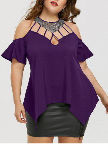 Latest Plus Size Bell Sleeve Sequined Blouse
