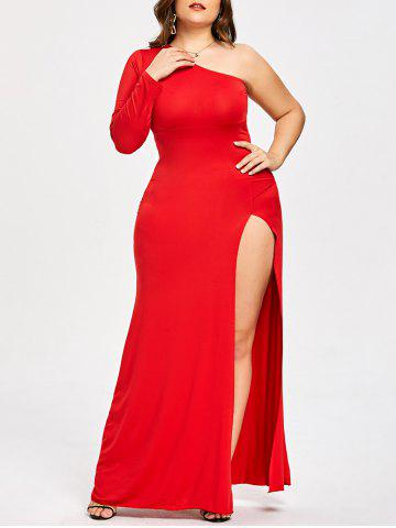 Outfits Plus Size One Shoulder High Split Evening Dress