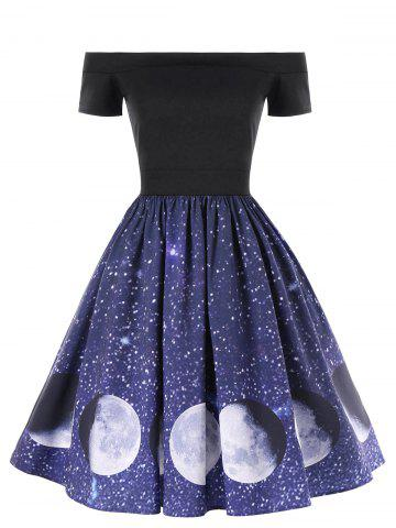 Trendy Off The Shoulder Moon Phase Print Dress