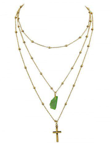 Discount Faux Jade Cross Layered Pendant Necklace