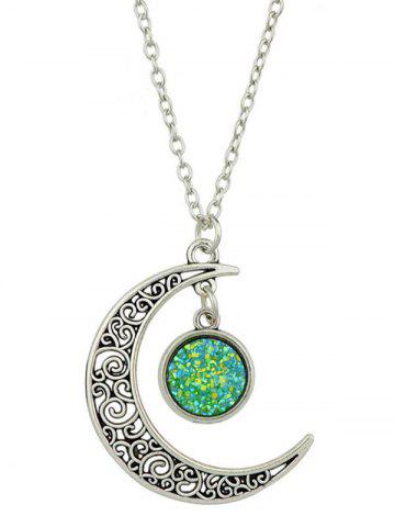 Fancy Round Hollowed-out Alloy Pendnant Necklace