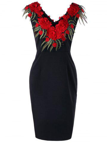 Affordable Plus Size Stereo Flower Sleeveless Sheath Dress