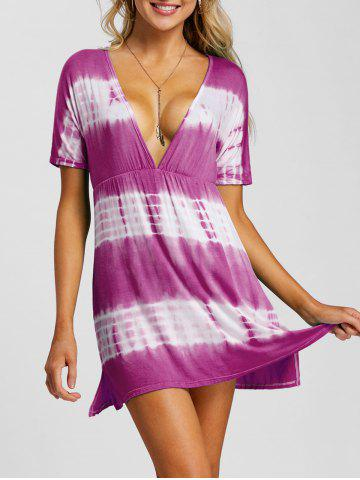 Fancy Plunging Neck Tie Dye Beach Dress