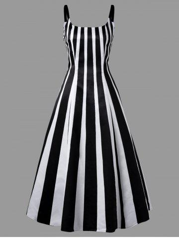 Cheap Vertical Stripe Cami Strap Midi Dress