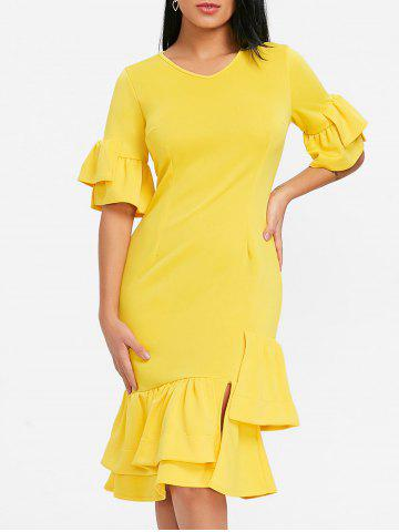 Hot Layered Ruffles Midi Dress