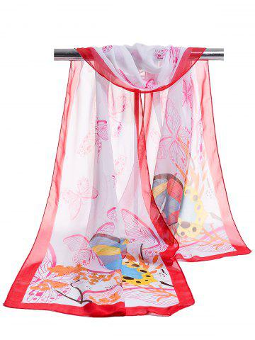Trendy Flying Butterfly Floral Pattern Silky Chiffon Scarf