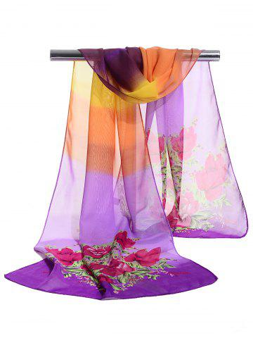 Sale Floral Pattern Decorated Lightweight Chiffon Scarf