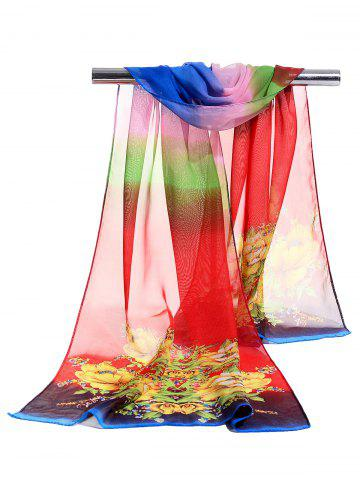 Store Floral Pattern Decorated Lightweight Chiffon Scarf