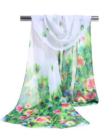 Shop Peacock Feathers Pattern Lightweight Chiffon Scarf