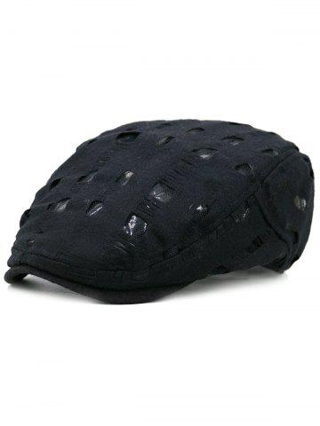 Store Simple Hollow Hole Pattern Embellished Newsboy Hat