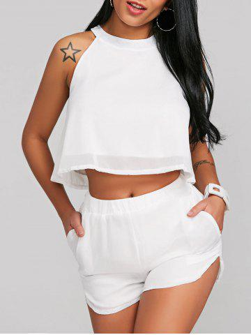 Fancy Crop Top With High Rise Shorts Two Piece Set