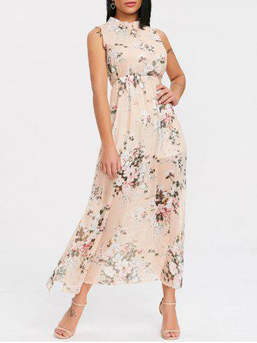 Outfit High Slit Backless Floral Midi Dress