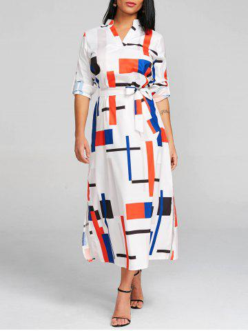 Hot Geometric Midi A Line Dress