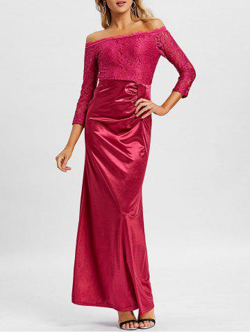 Lace Insert Off The Shoulder Maxi Prom Dress