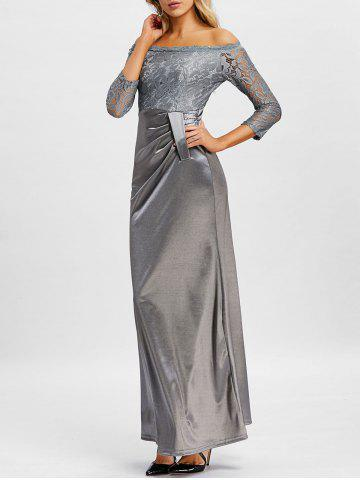Lace Insert Off The Shoulder Maxi Prom Dress - GRAY - S