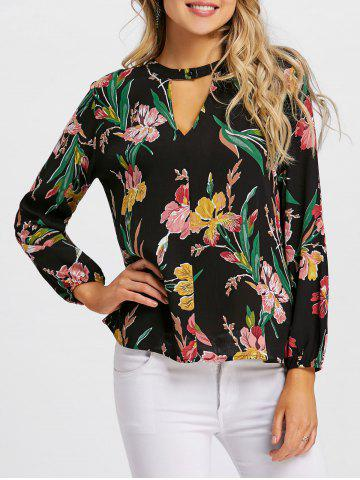 Fancy Floral Oil Painting Long Sleeve Blouse