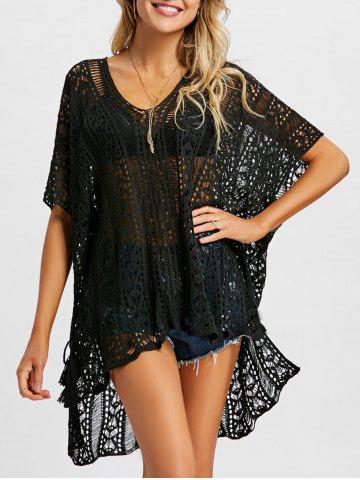 Online Tassel Slit Crochet Cover Up Top