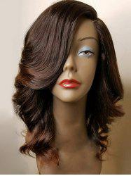 Medium Side Parting Wavy Colormix Synthetic Fiber Wig -