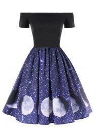 Off The Shoulder Moon Phase Print Dress -