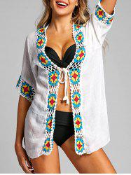 Crochet Trimmed Tie Up Boho Cover Up -