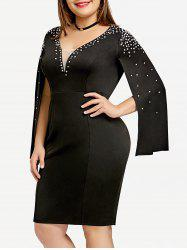 Plus Size Rhinestone Split Sleeve Fitted Dress -