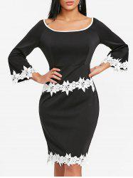 Flare Sleeve Crochet Trimmed Bodycon Dress -