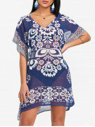 Chiffon Ethnic Print Kaftan Beach Dress -