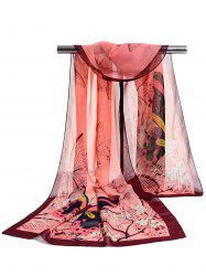 Flying Butterfly Floral Pattern Silky Chiffon Scarf -