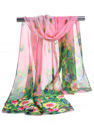 Peacock Feathers Pattern Lightweight Chiffon Scarf -