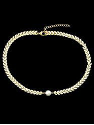 Center Artificial Pearl Fishbone Chain Necklace -