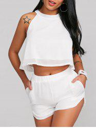 Crop Top With High Rise Shorts Two Piece Set -