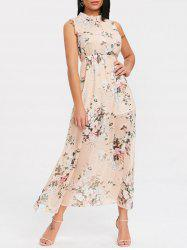 High Slit Backless Floral Midi Dress -