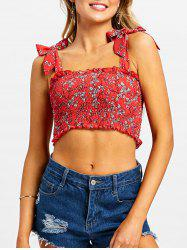 Shirred Frill Floral Crop Top -