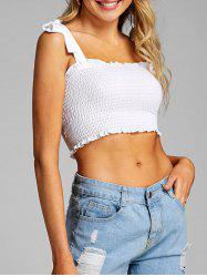 Tie Shoulder Smocked Crop Top -