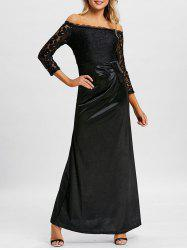 Lace Insert Off The Shoulder Maxi Prom Dress -