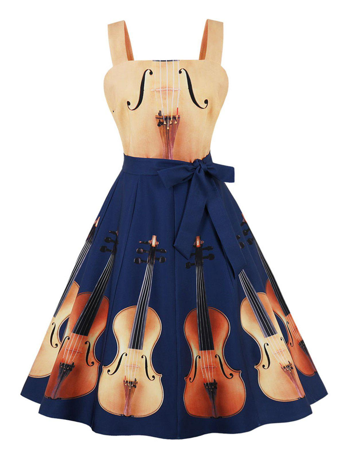 Discount Plus Size Violin Print Belted Vintage Dress