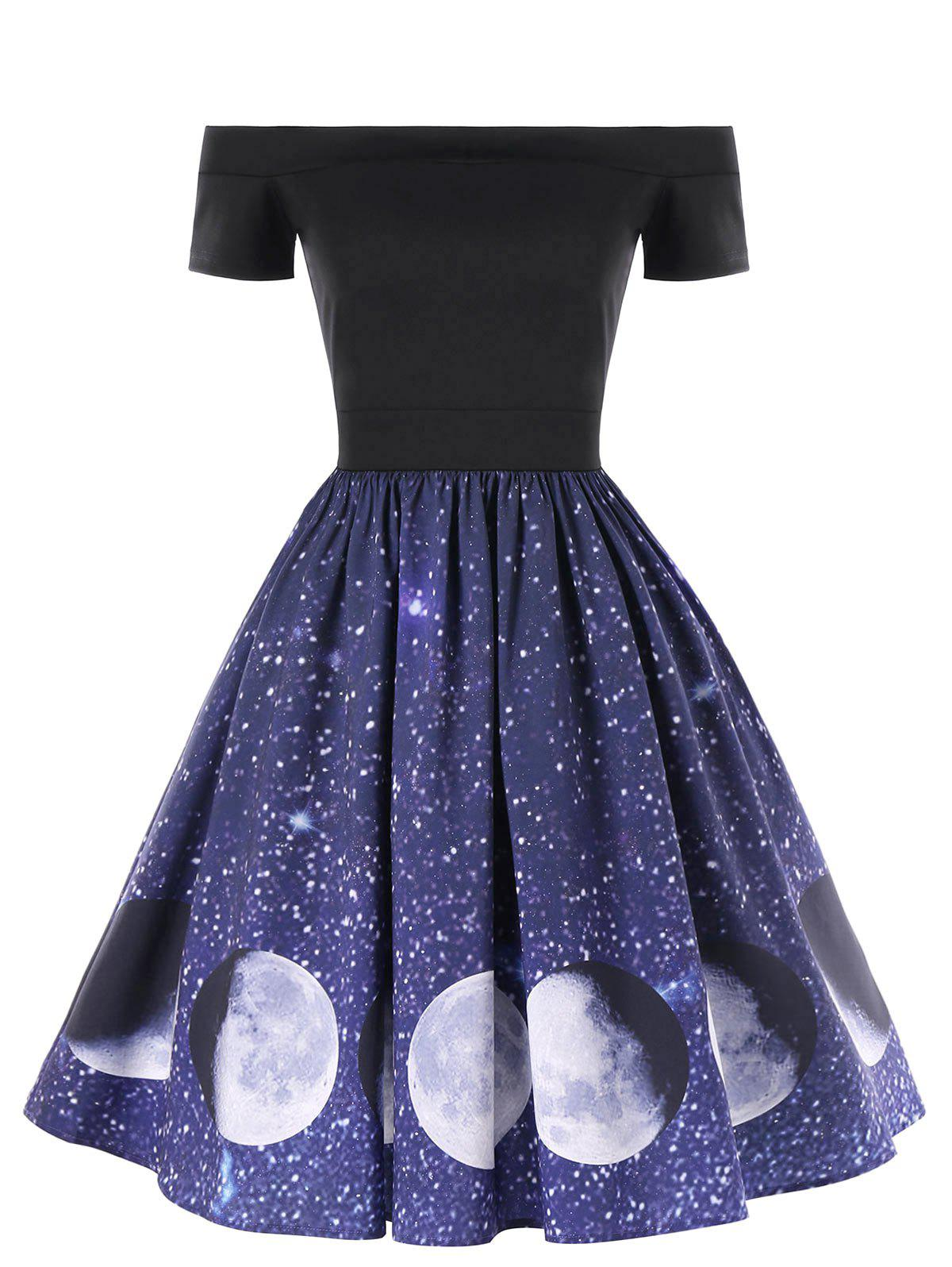Hot Off The Shoulder Moon Phase Print Dress